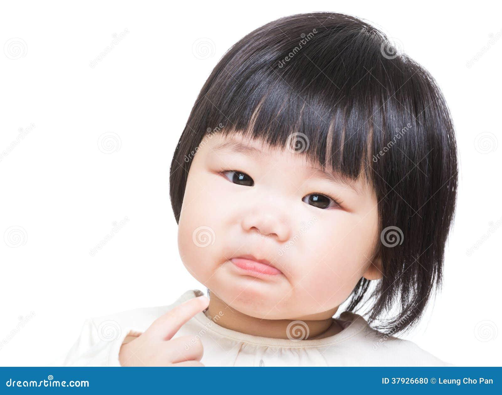 Babymeisje dat ongelukkig voelt