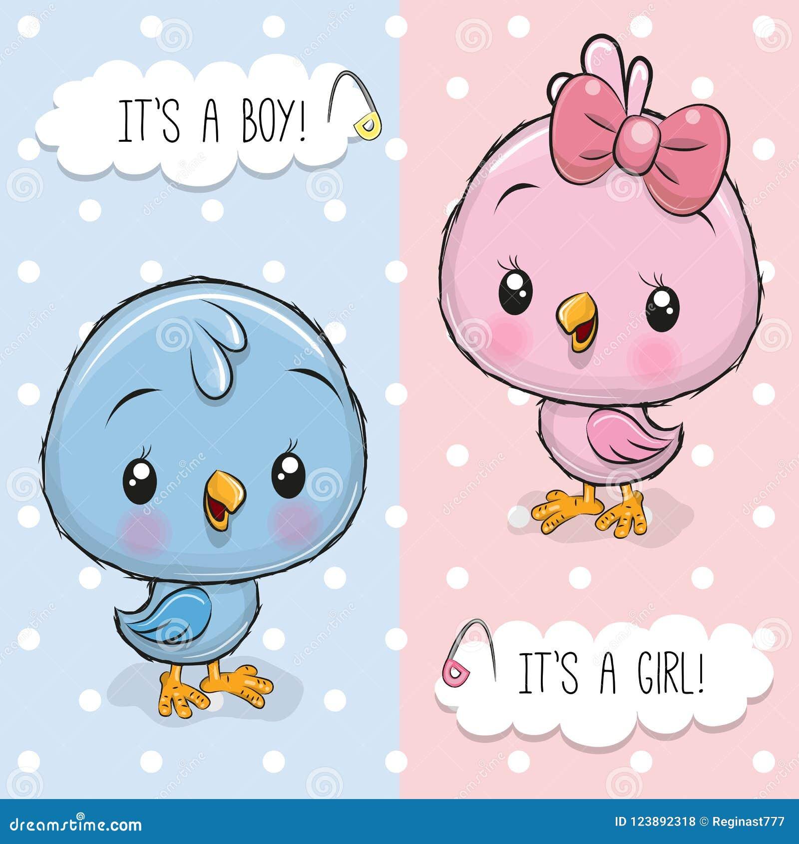 Babypartygrußkarte mit Vögeln Junge und Mädchen