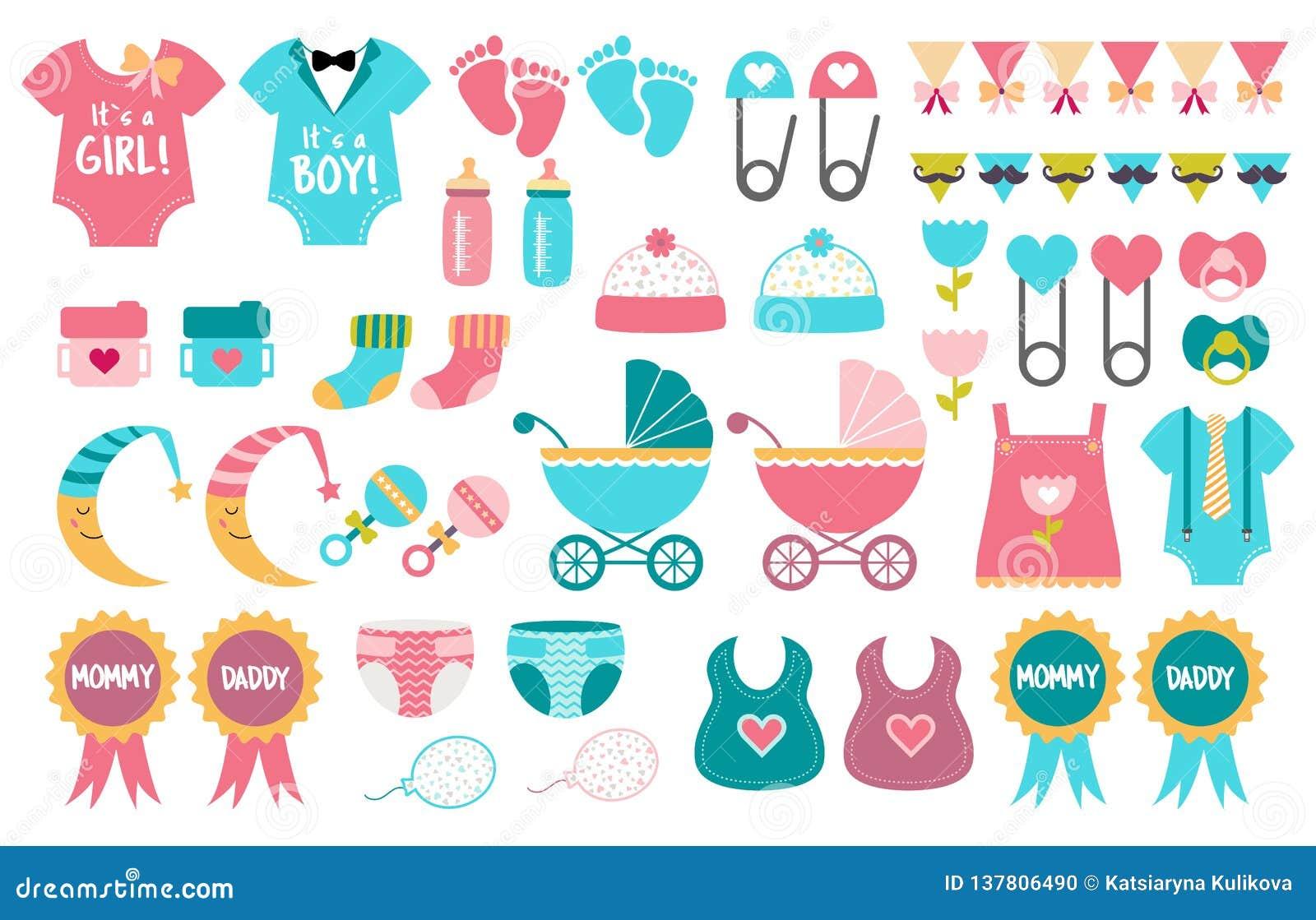 Babypartyikonenvektor-Satzgeschlecht decken Partei auf