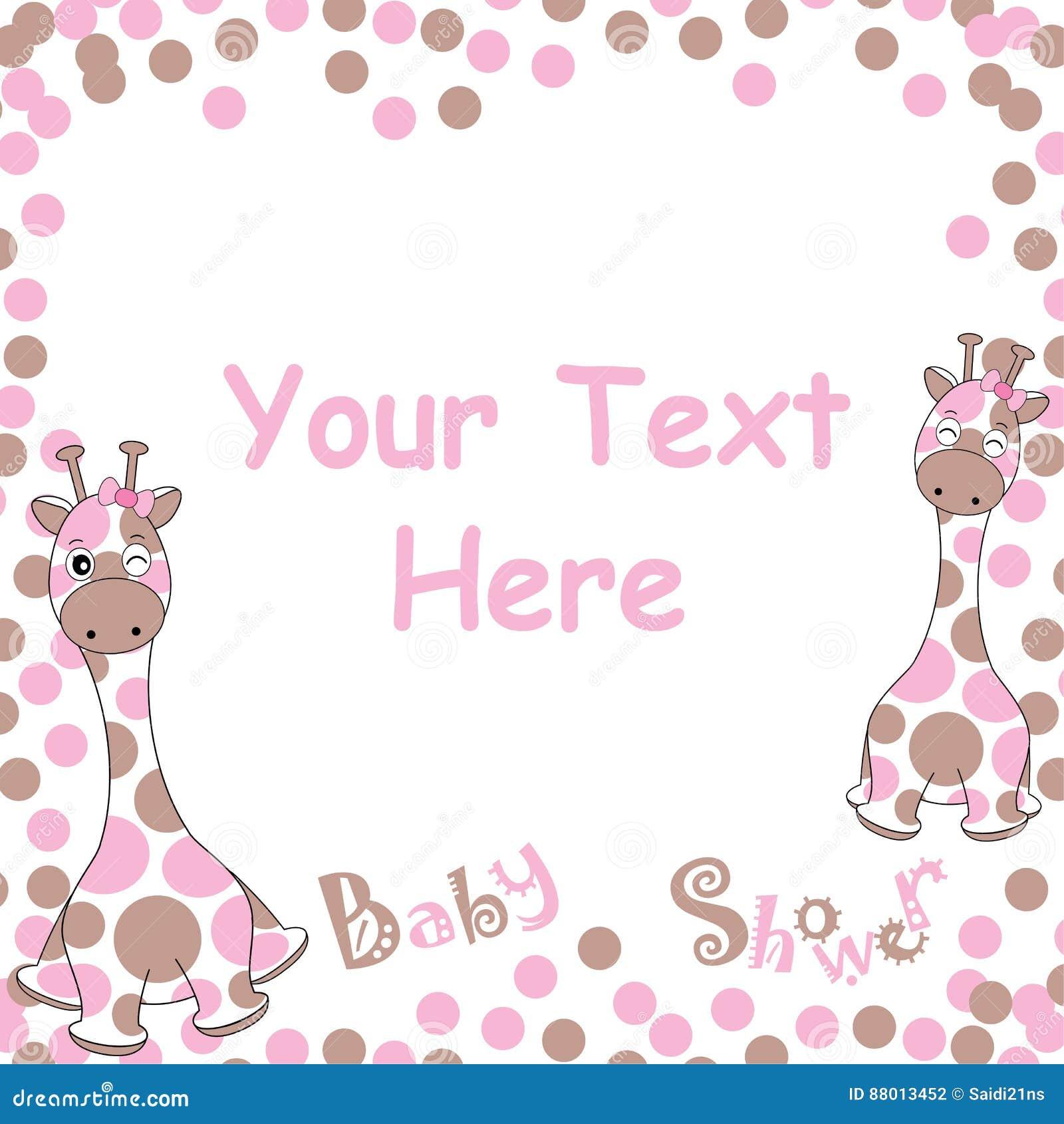 Babypartykarte mit netter Babygiraffe auf rosa Ballrahmen