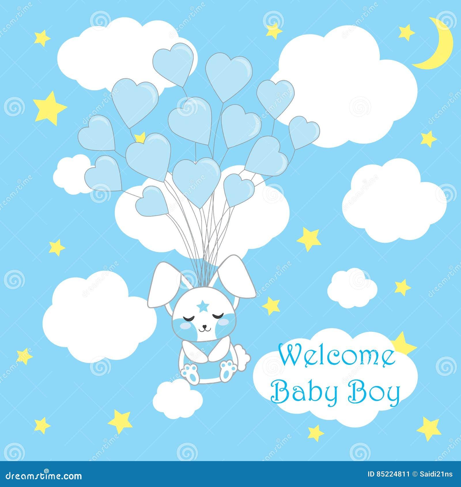 Babypartykarte mit netter Babykaninchenfliege mit Liebe steigt auf blauem Hintergrund für Babykindertagesstättenwand, Vektorkarik