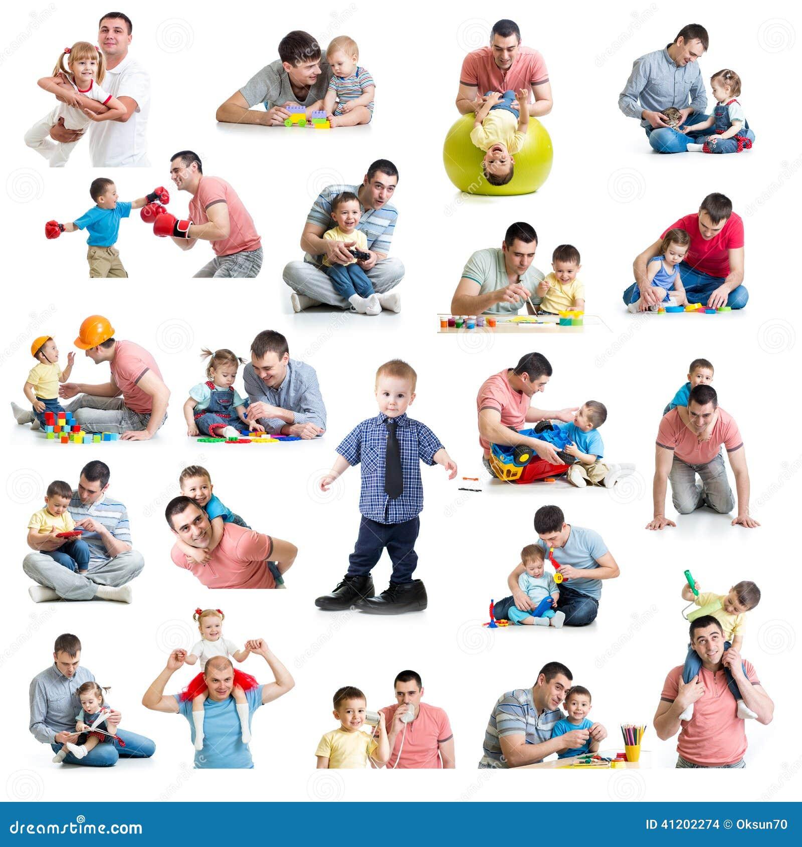Babys und Kindercollage mit Vatis Vaterschafts- und Vaterschaftsbetrug