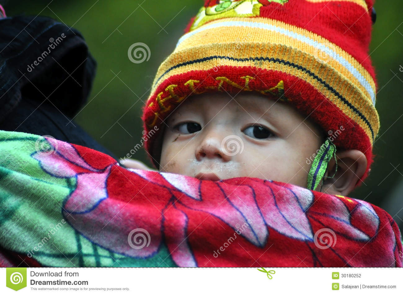 Vietnamese Hmong Woman Carrying Her Child Editorial Stock
