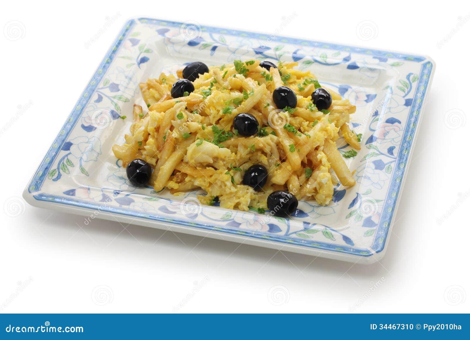 Bacalhau a bras, Portuguese cuisine, a dish with salt cod, potatoes ...