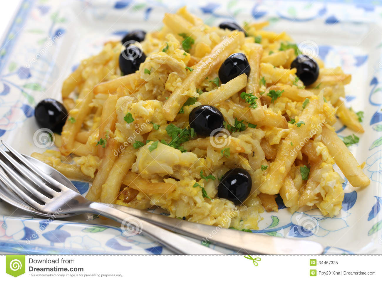 Bacalhau A Bras, Portuguese Cuisine Royalty Free Stock Photo - Image ...