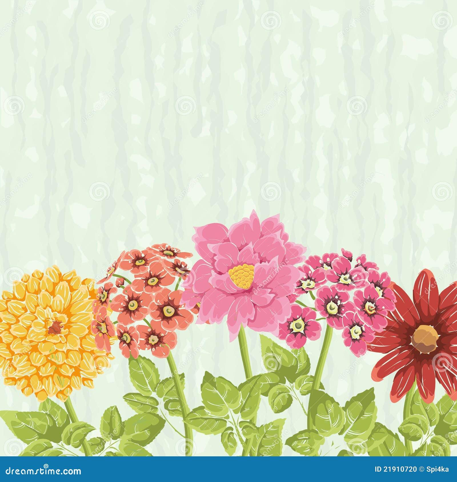 Bacground floreale con i fiori disegnati a mano fotografia for Fiori disegnati