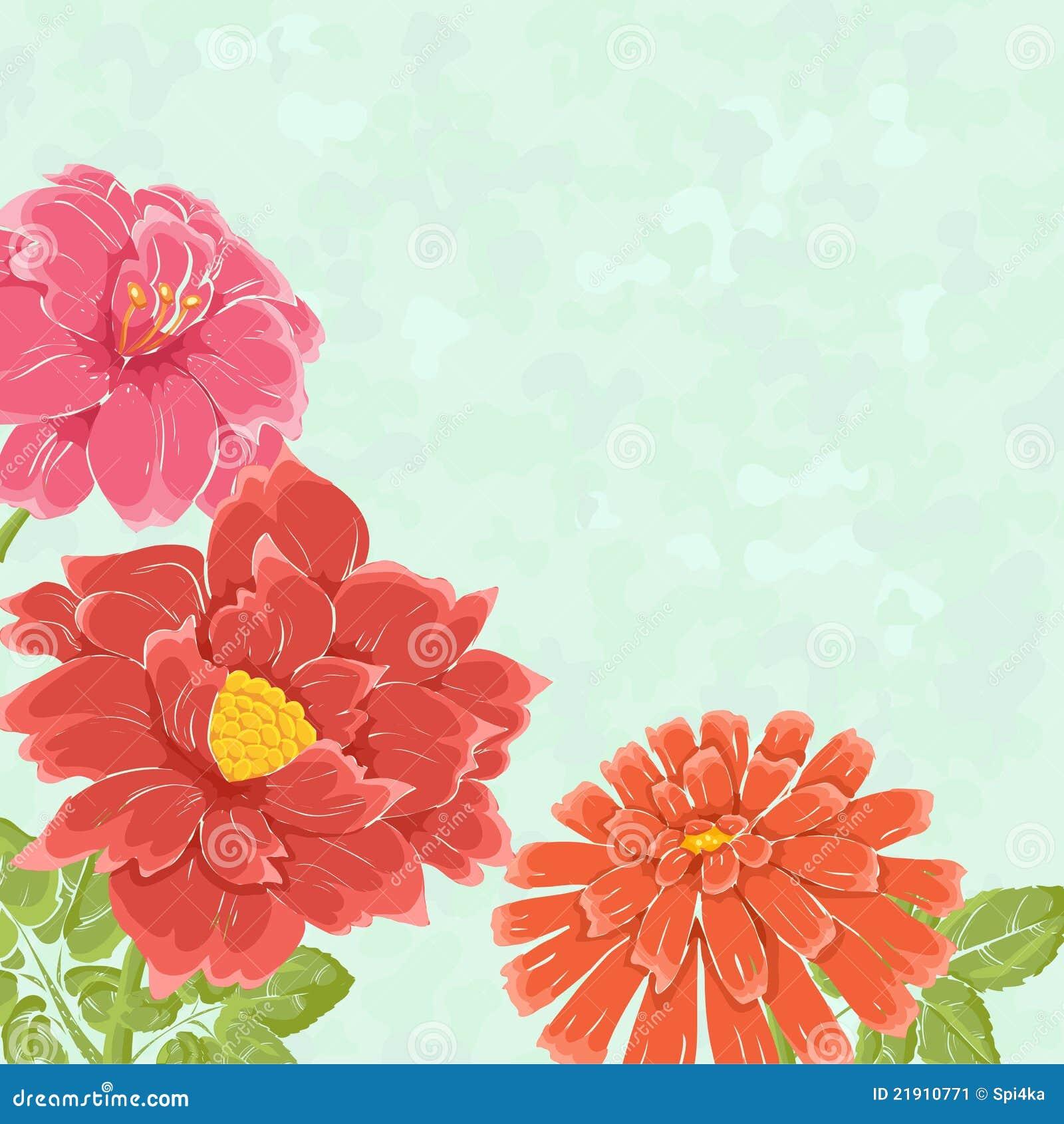 Bacground floreale con i fiori disegnati a mano immagine for Fiori disegnati