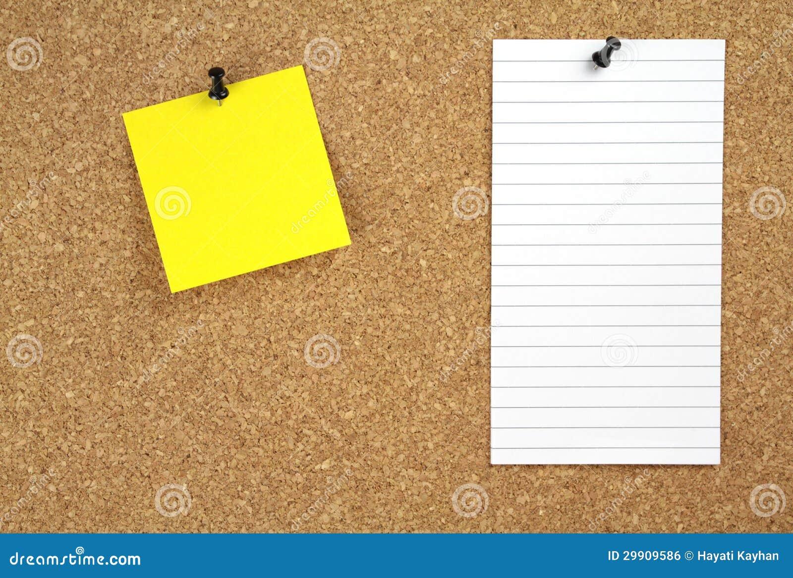 Eccezionale Bacheca Del Sughero Con Carta Per Appunti Gialla E Bianca  YM34