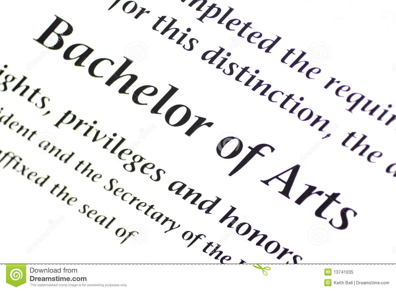 bachelor of arts designation royalty free stock photo