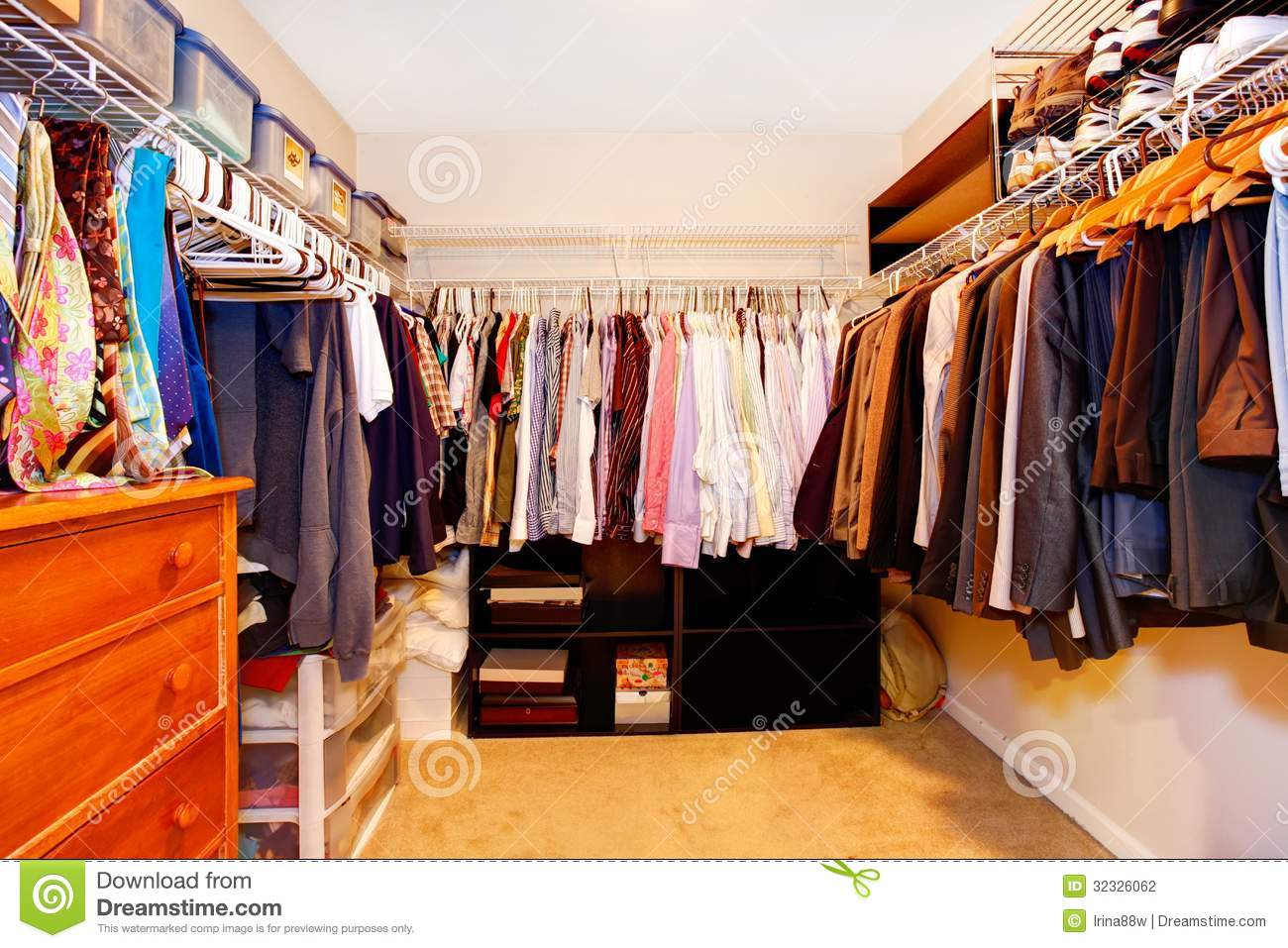 Bachelor Closet Interior With Lots Of Business Clothes Stock Photo Image 32326062