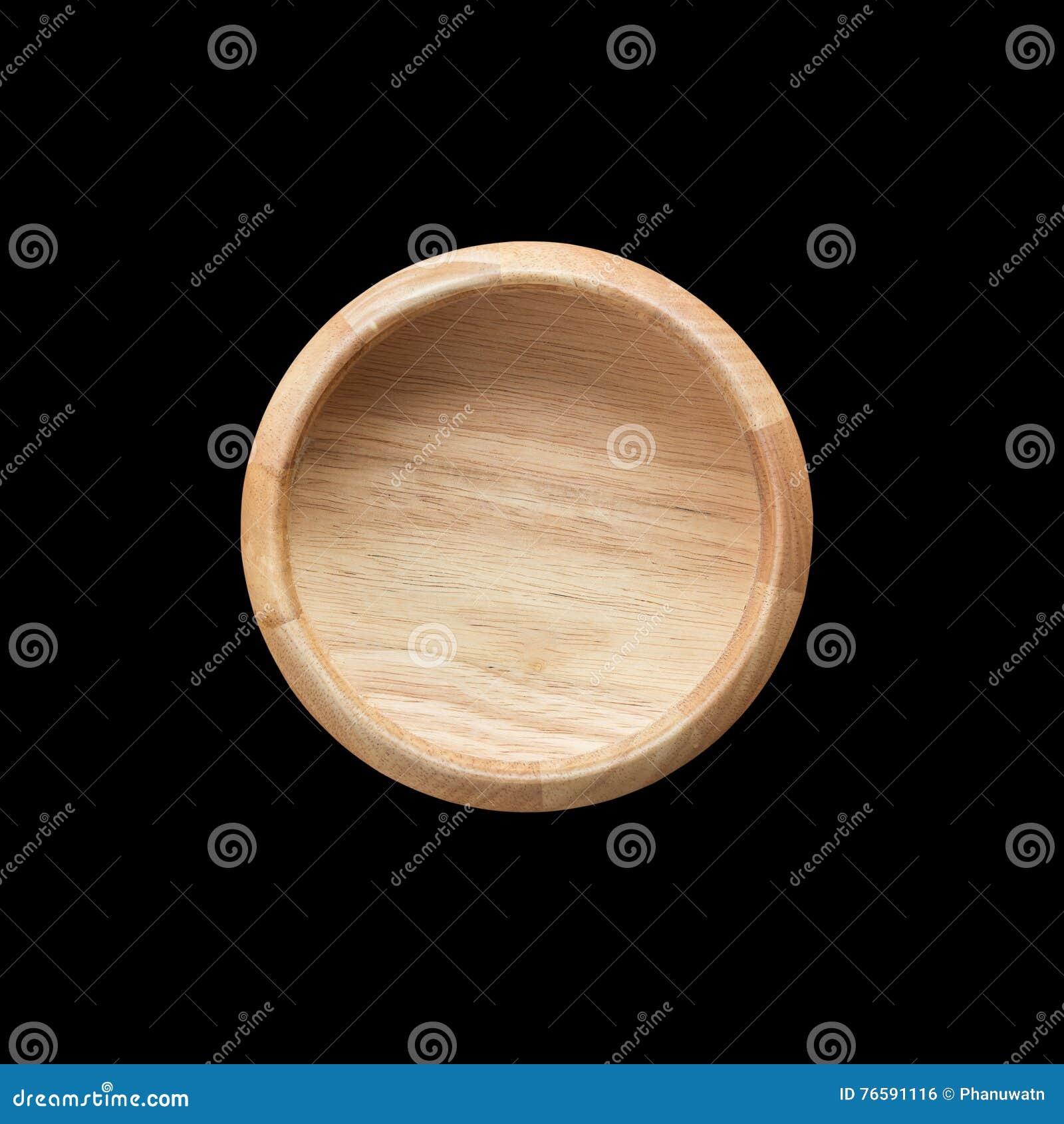 Bacia de madeira vazia brilhante da vista superior isolada no branco Salvar com