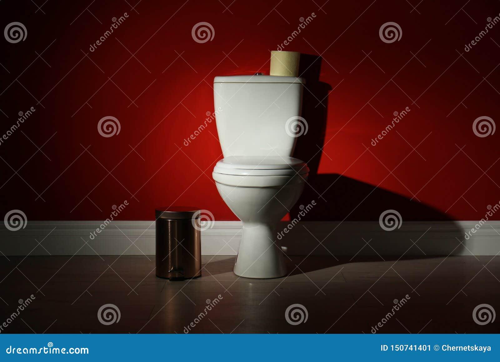 Bacia de toalete com o escaninho de papel do rolo e de lixo