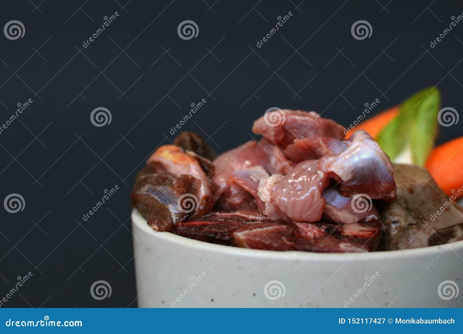 Bacia do cão ou do gato enchida com a mistura do alimento cru biologicamente apropriado que contém a carne, as entranhas e os veg