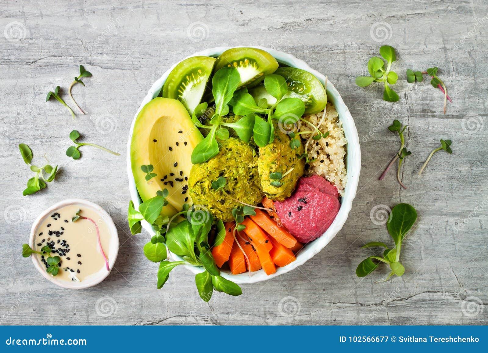 Bacia do Oriente Médio da Buda do estilo com falafel, o quinoa, polpa de butternut, os tomates, o abacate, o hummus das beterraba