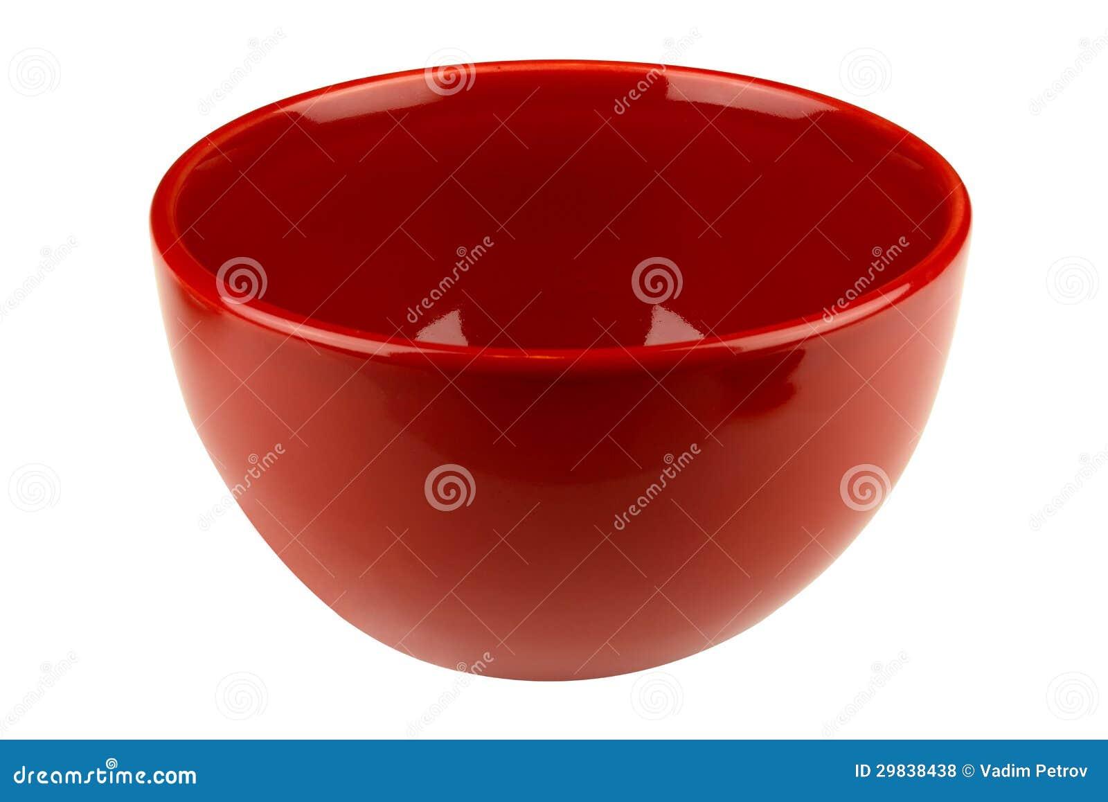 Bacia vazia vermelha isolada no branco