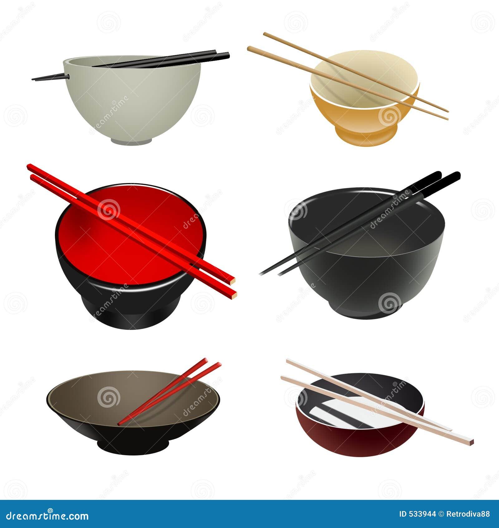 Bacias & chopsticks asiáticos