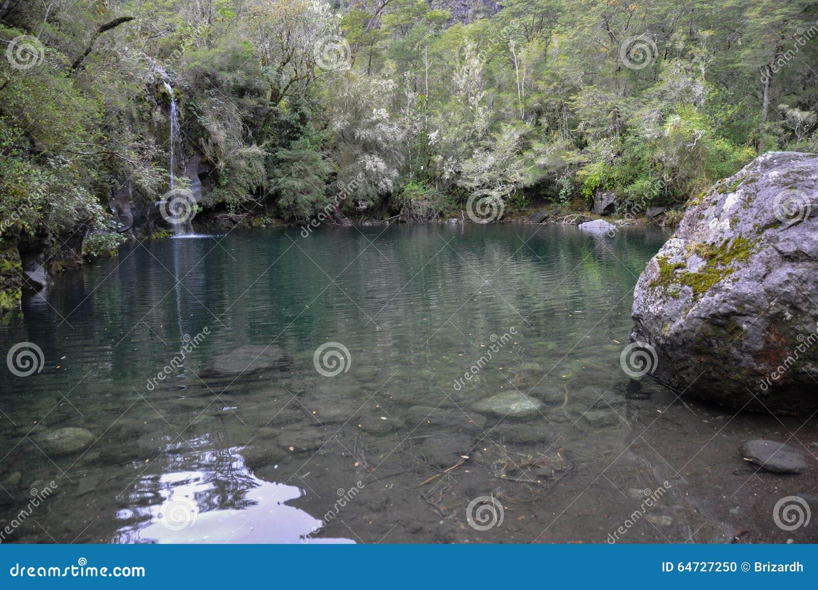 Bacino di Petrohue su una delle molte tracce intorno, il Cile
