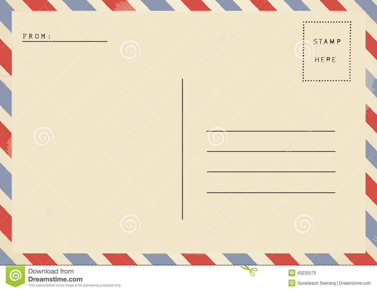 Back Of Airmail Blank Postcard. Stock Photo - Image: 43232579