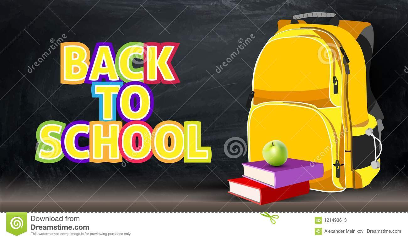Back Background On A School Theme With A Backpack, Apple