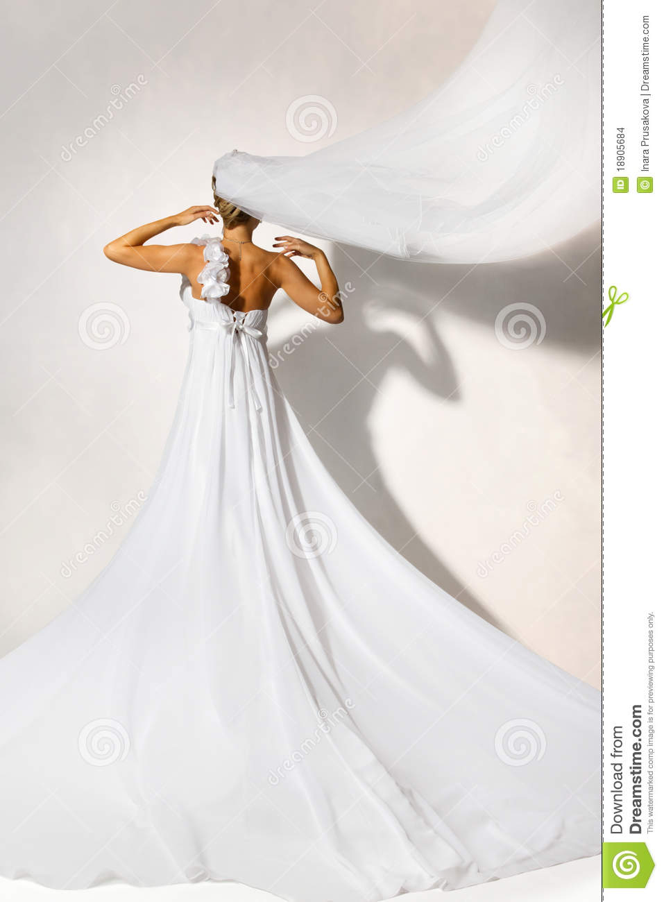 White Wedding Dress Meaning Dream : Back of bride in white elegance wedding dress with loop long flying