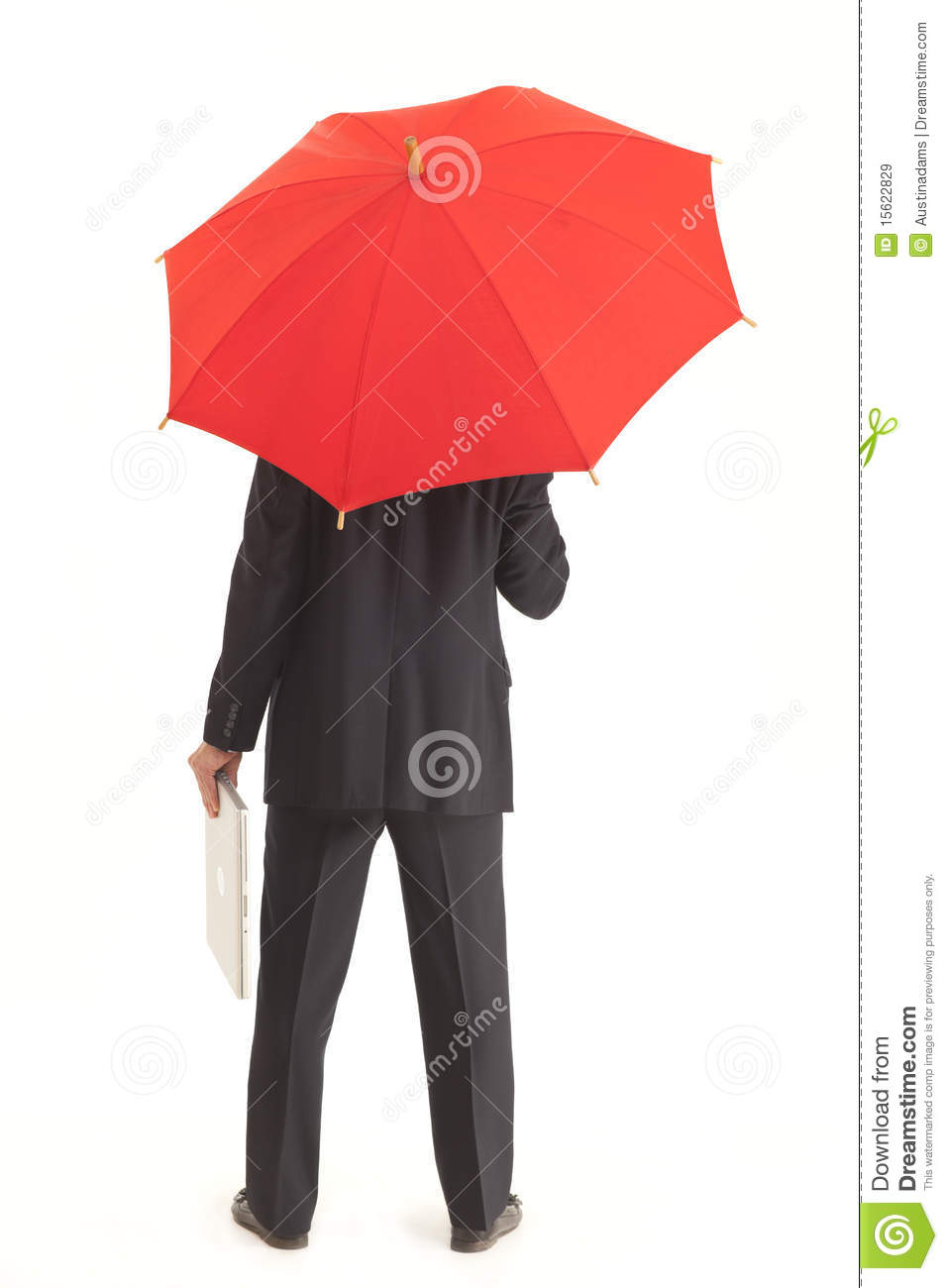Back Of Businessman With Red Umbrella And Laptop Royalty