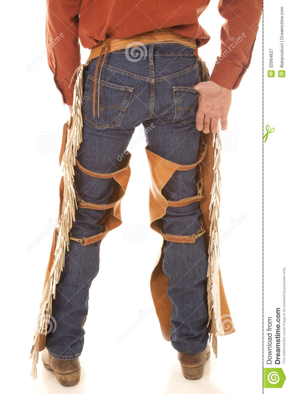 Back Of A Cowboy In Chaps Royalty Free Stock Photography - Image ...