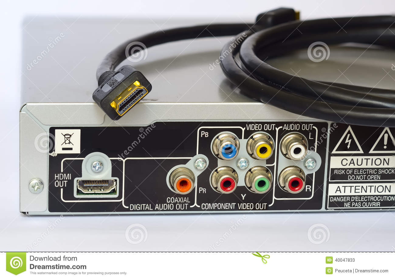 Back Of A DVD Player And HDMI Cable Stock Image - Image of cable ...