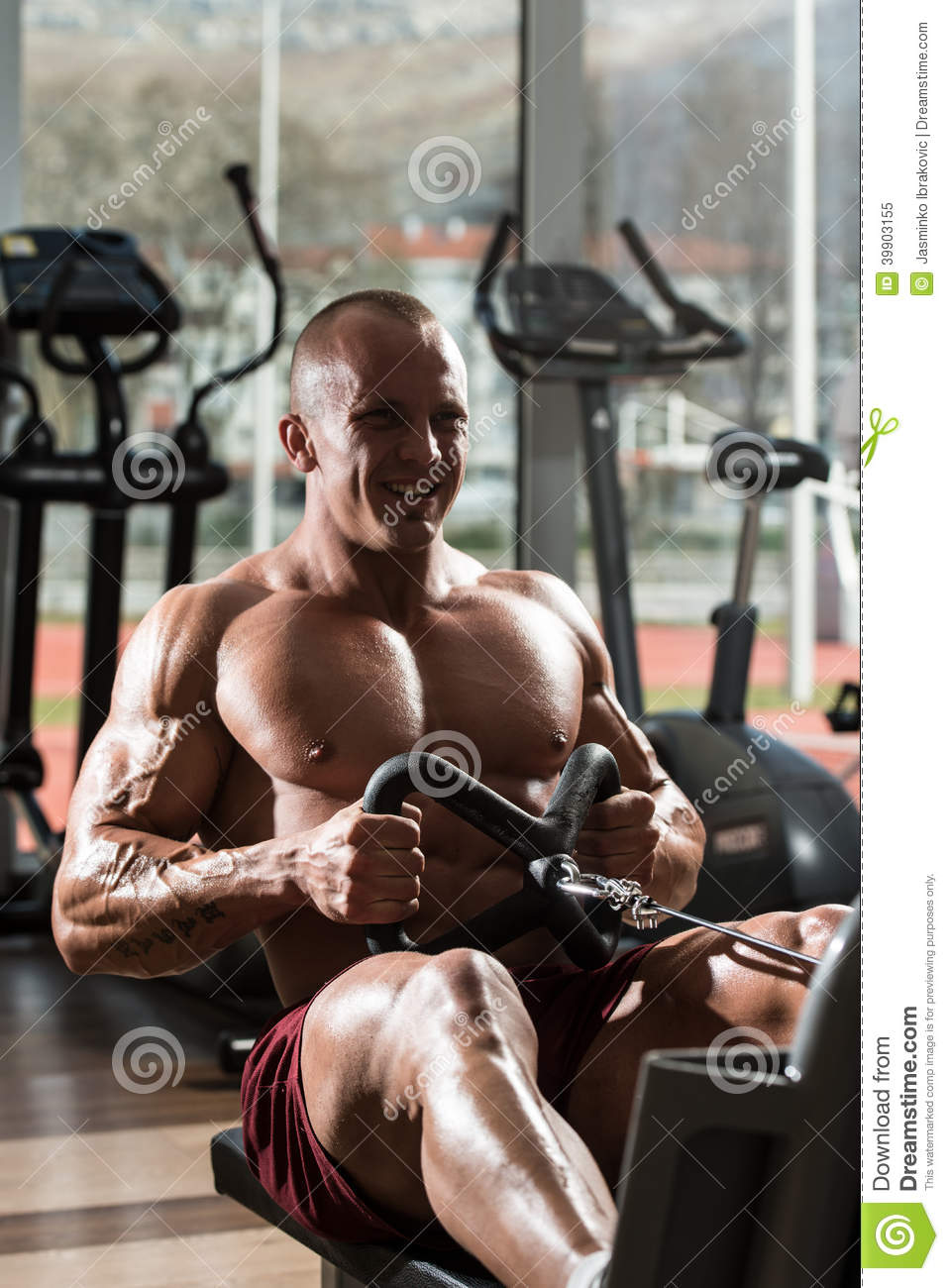 Download Back Exercises On A Seated Row Machine Stock Image