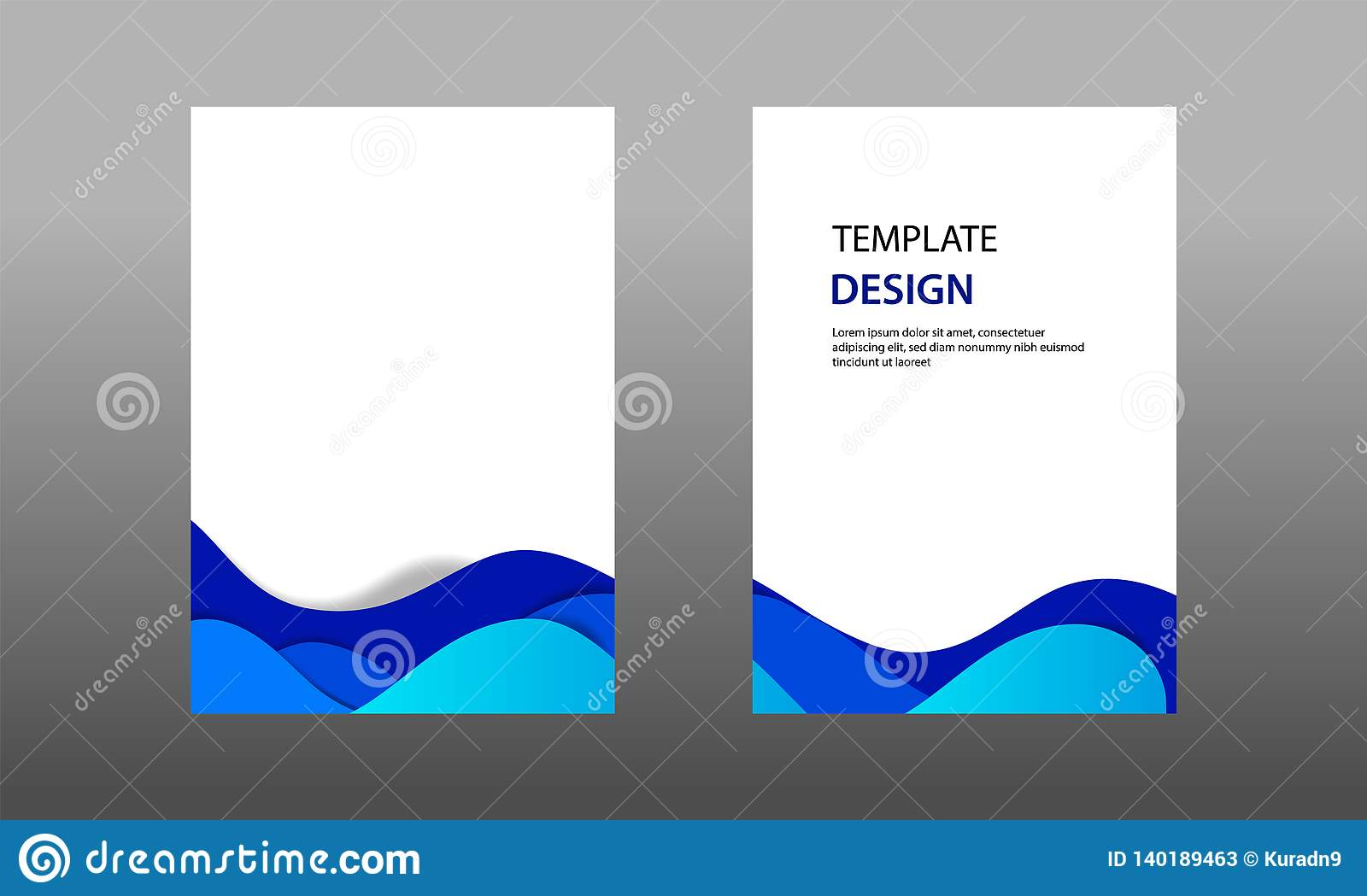 Back And Front Document Mock Up And Cover Template Wave Fluid