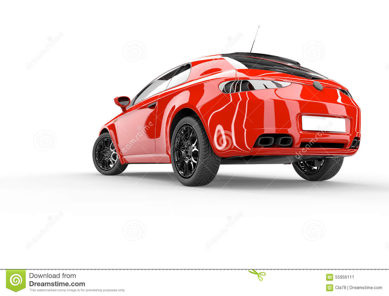 Back Of A Generic Red Sport Car Stock Illustration - Image ...