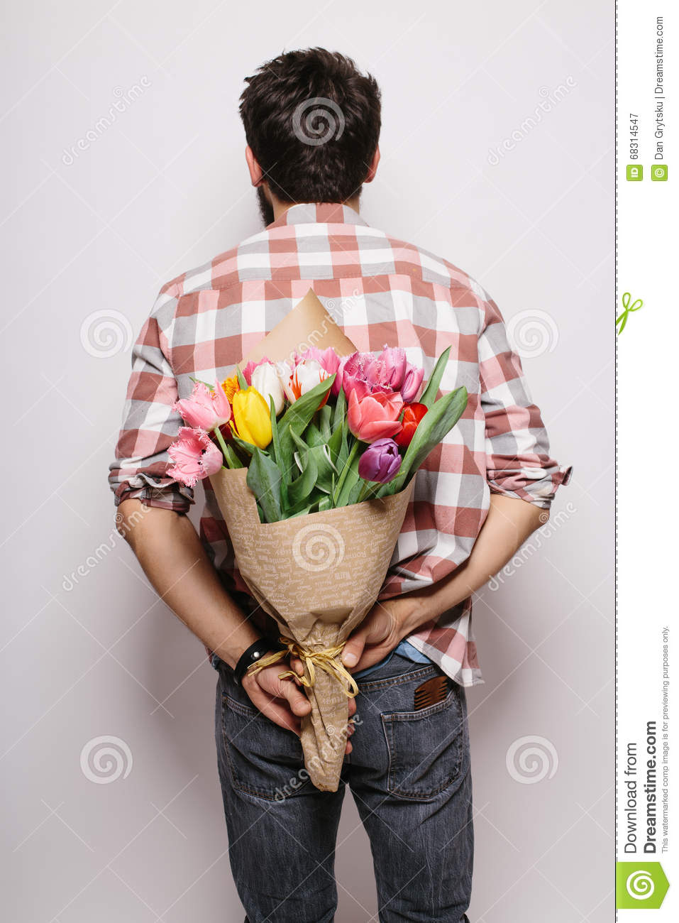 Back Handsome Young Man With Beard And Nice Bouquet Of Flowers Stock ...