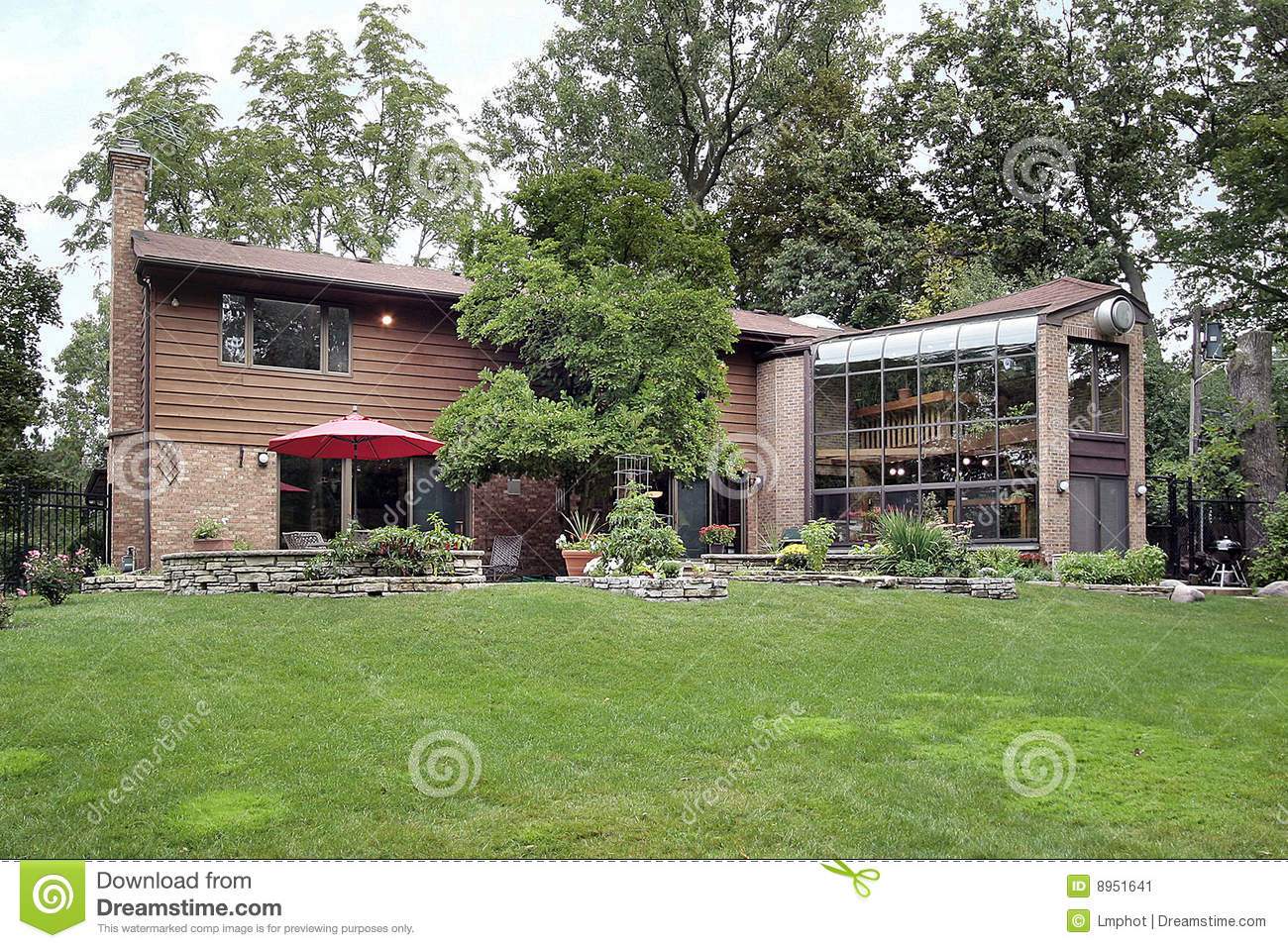Back Of Home With Two Story Greenhouse Stock Image Image