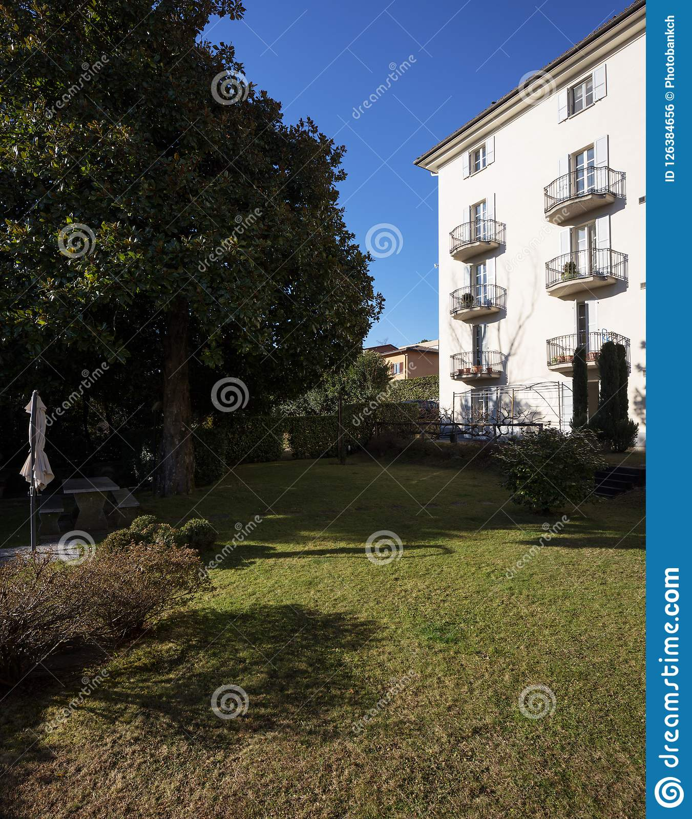 Download Back Of The House, Garden With Green Lawn Stock