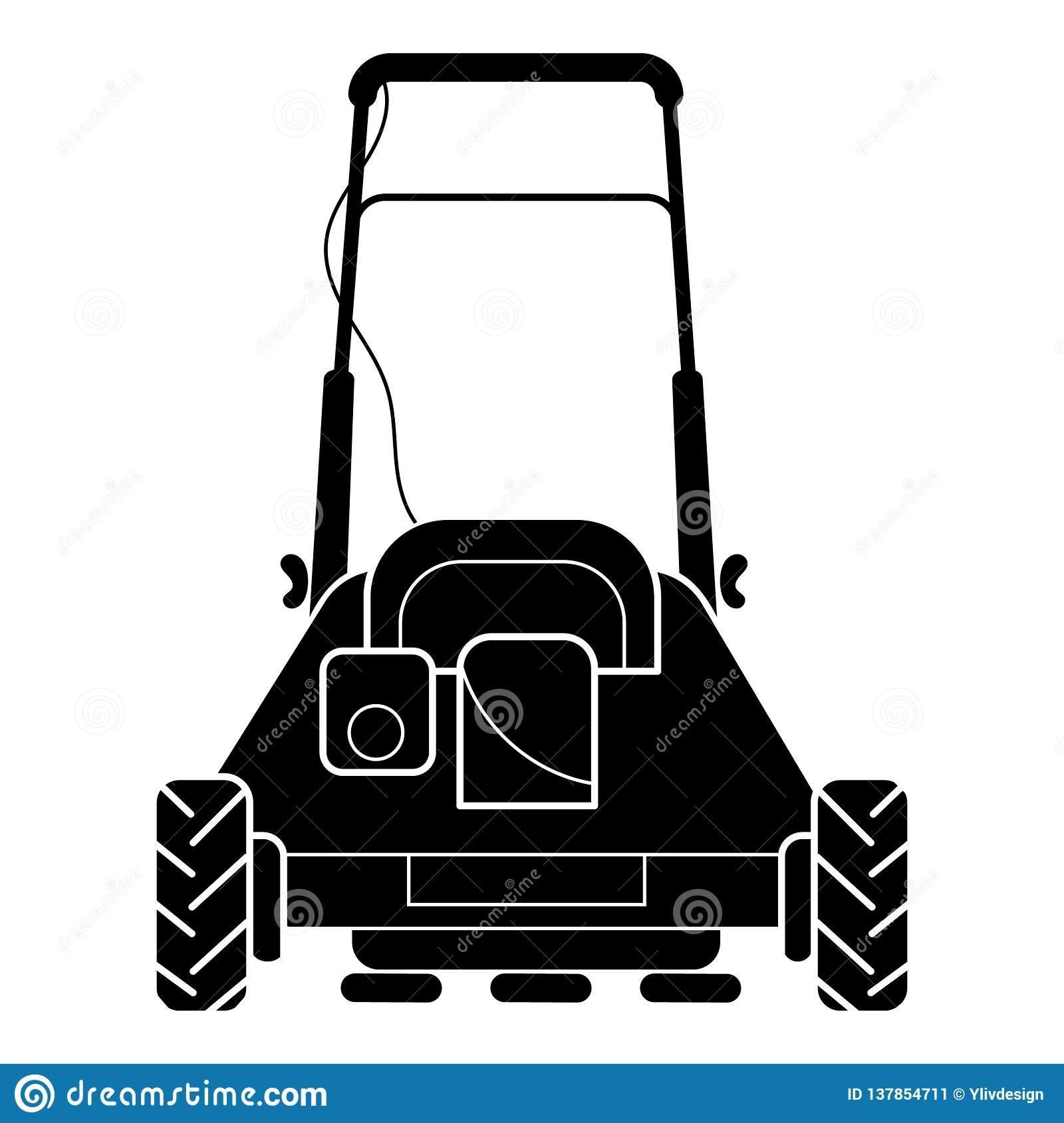 Back of lawn mower icon, simple style