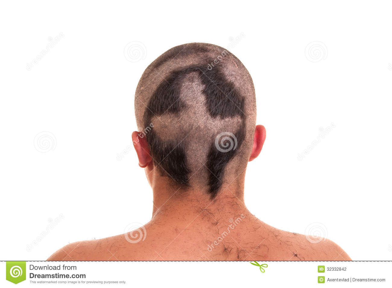 Back Of Man Head With Funny Haircut Isolated On W Stock Photography Image 32332842