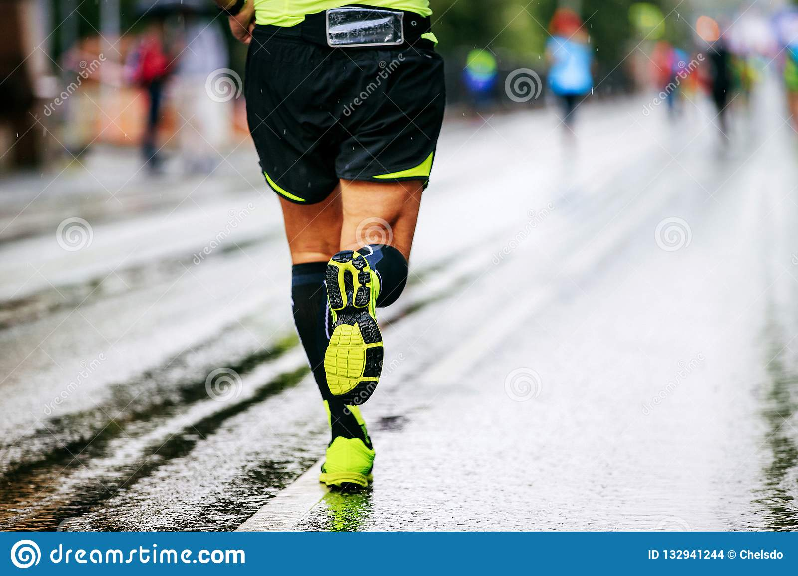 a231c99d06 Back Man Runner In Compression Socks Stock Photo - Image of male ...