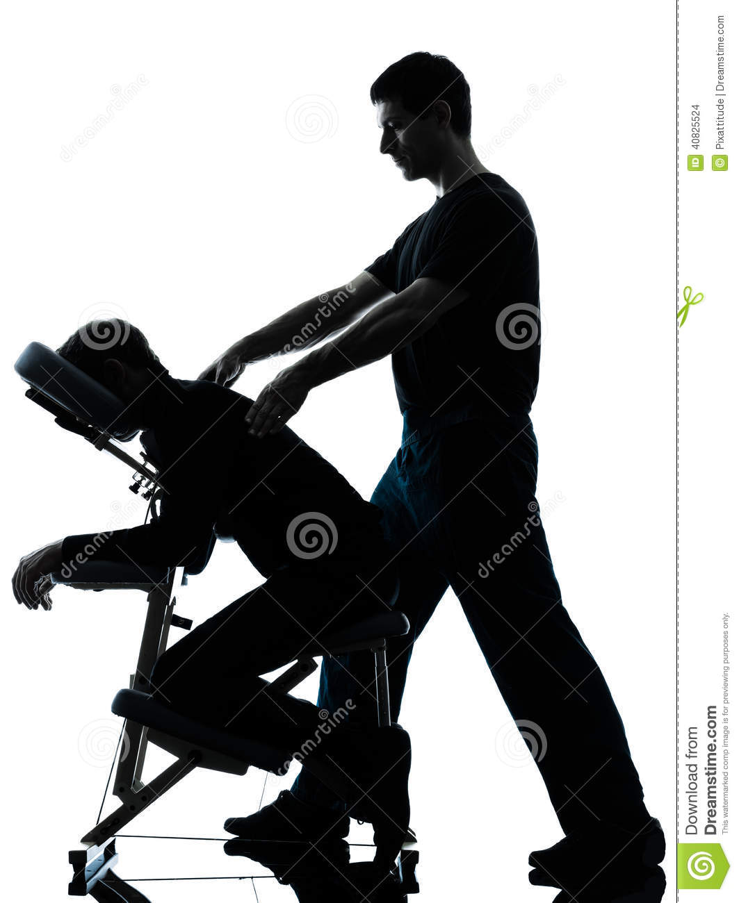Chair massage therapy - Back Massage Therapy With Chair Silhouette Stock Photo