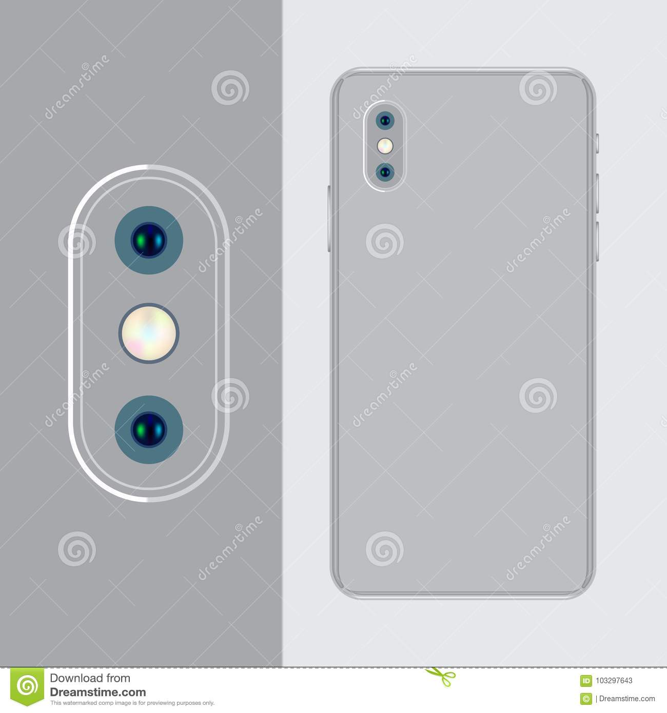 The Back Of The Mobile Phone Is Silvery And The Vertical Camera With