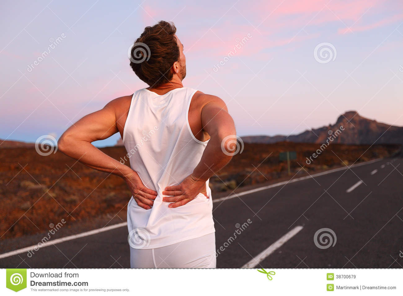 Back pain athletic running man with injury royalty free stock images