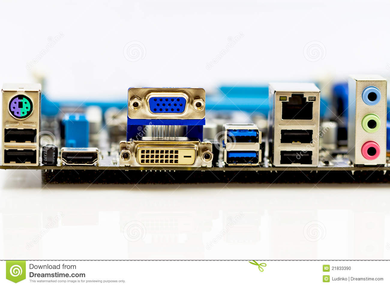 Back Panel Connectors Of The Computer Motherboard Stock Photo - Image ...