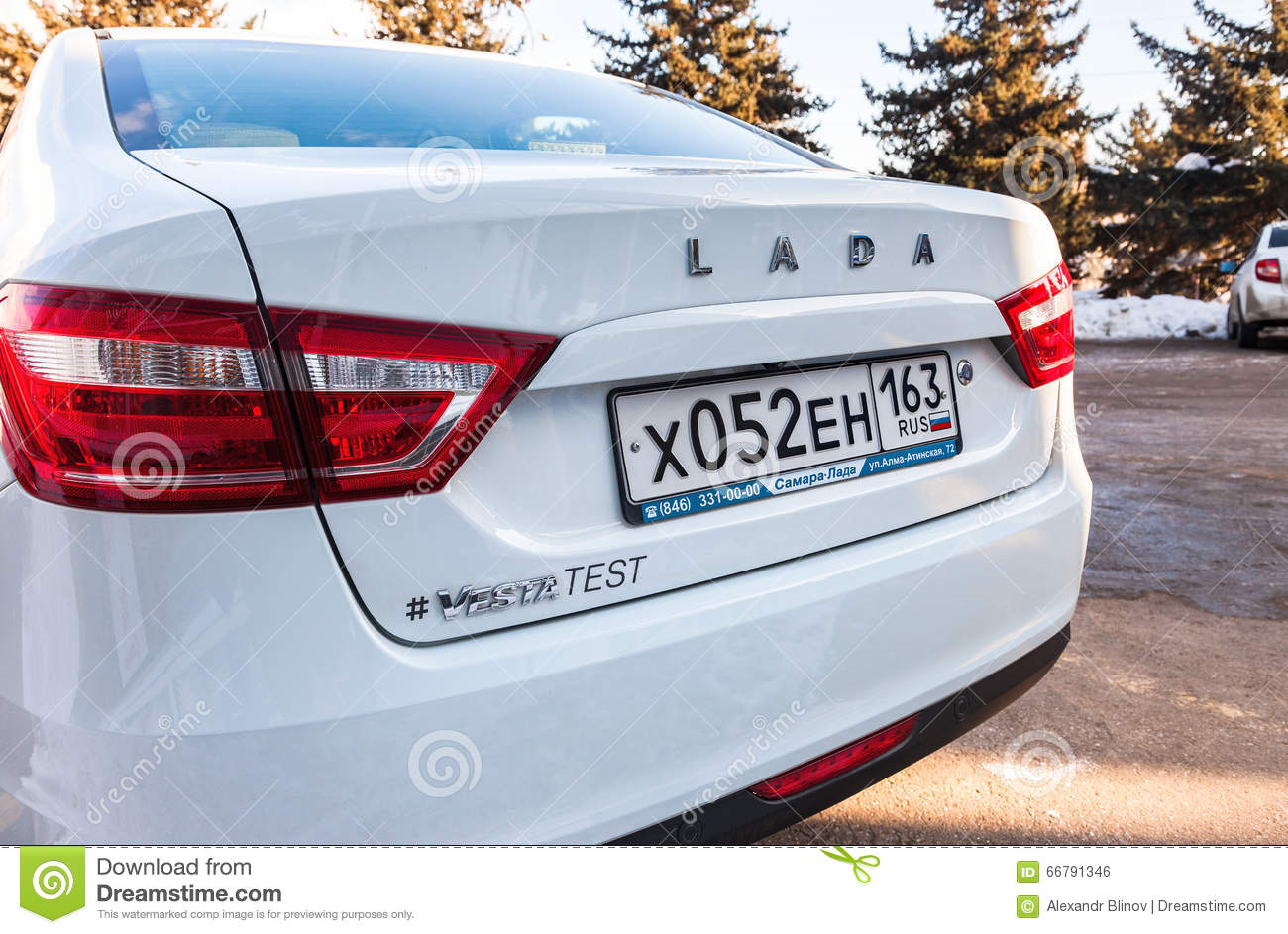 Back Part Of The New Russian Car Lada Vesta With License Plate ...
