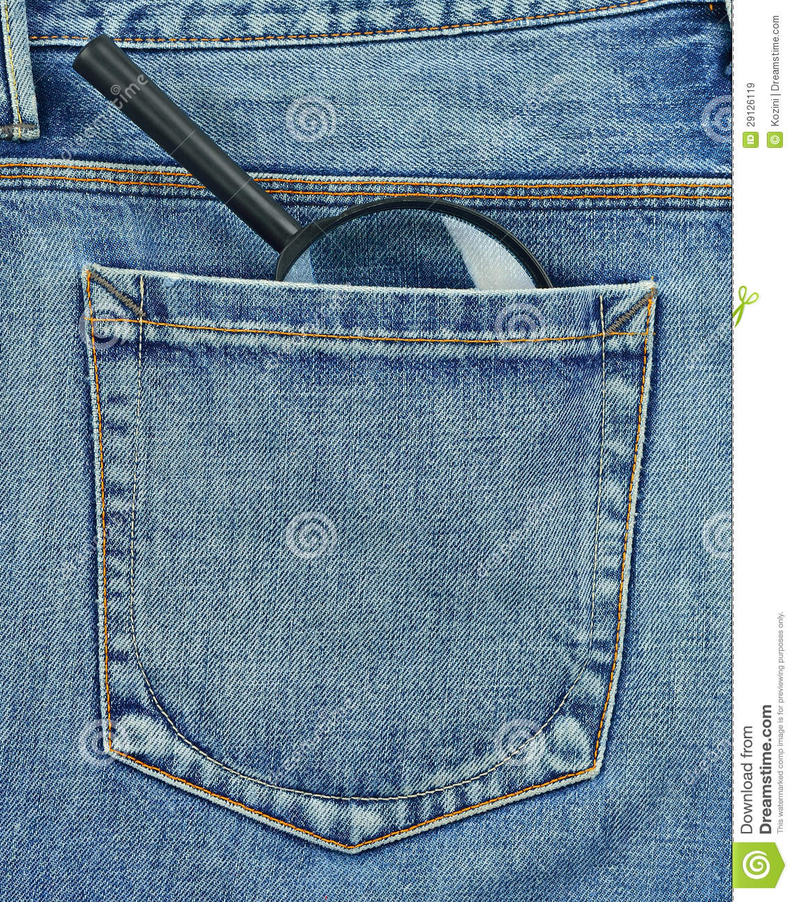 Back Pocket Of Jeans With Magnifying Glass Stock Image - Image 29126119