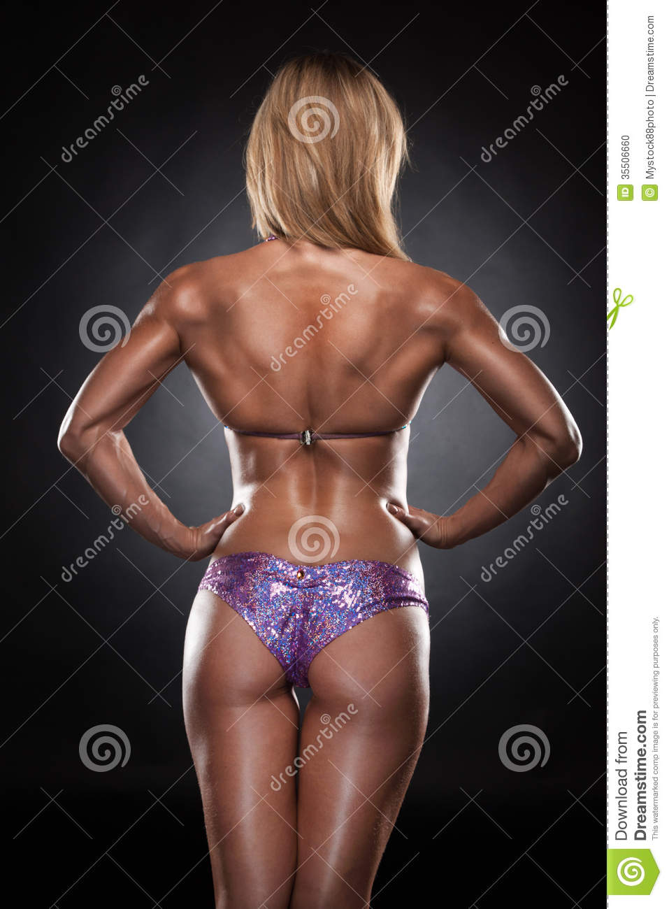 Back Of Fit Woman In Swimming Suit. Stock Photo - Image of