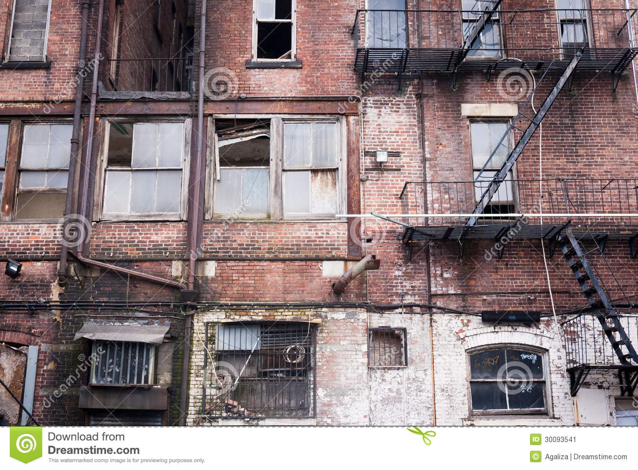Run down Apartment Facade stock image. Image of blight ...