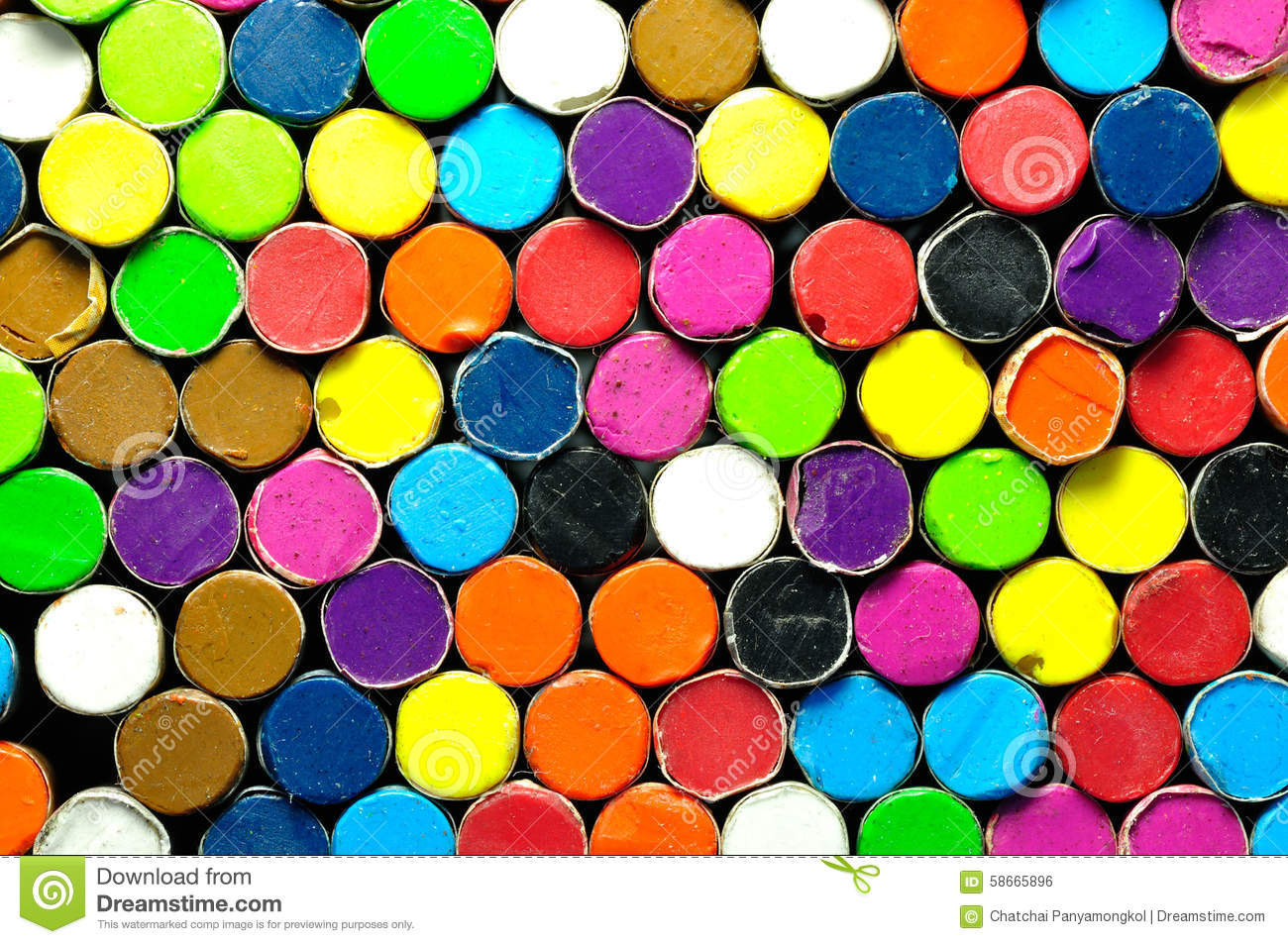 Crayon Colored Circle : Back side of colored crayon stock photo image