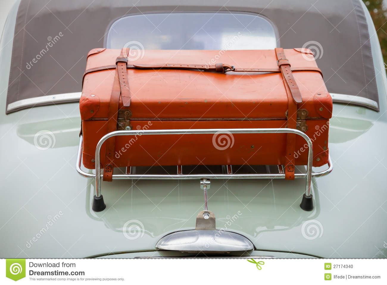 Back Side Luggage On Classic Car Stock Photo - Image: 27174340