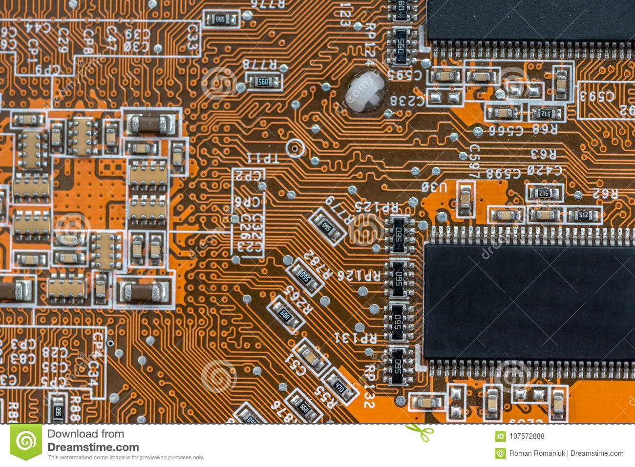 Back Side Of A Old Red Circuit Board Stock Photo Image Abstract Electronics Royalty Free