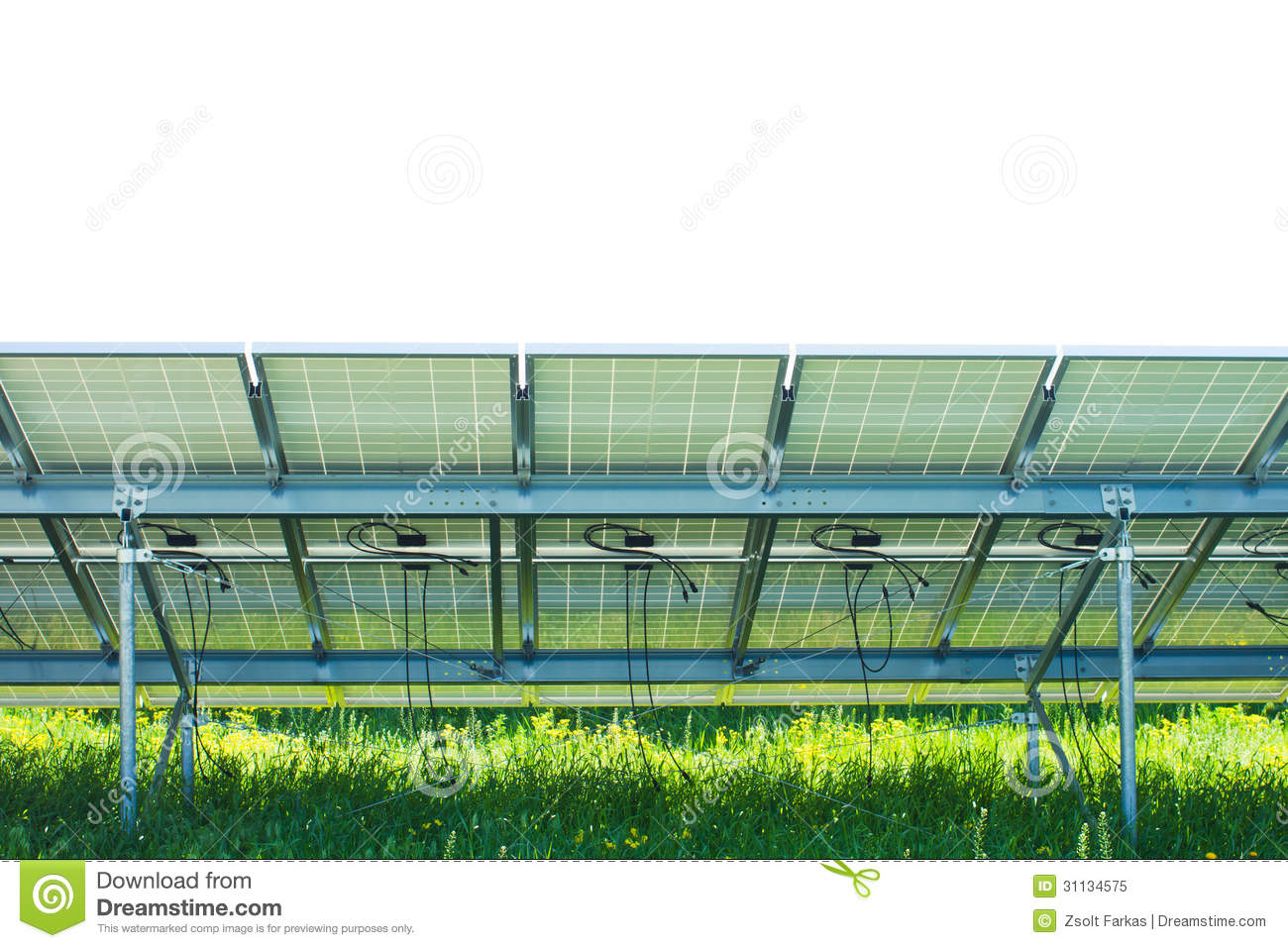 Solar Panel On Side Of Building : Back side of solar panel royalty free stock photo image