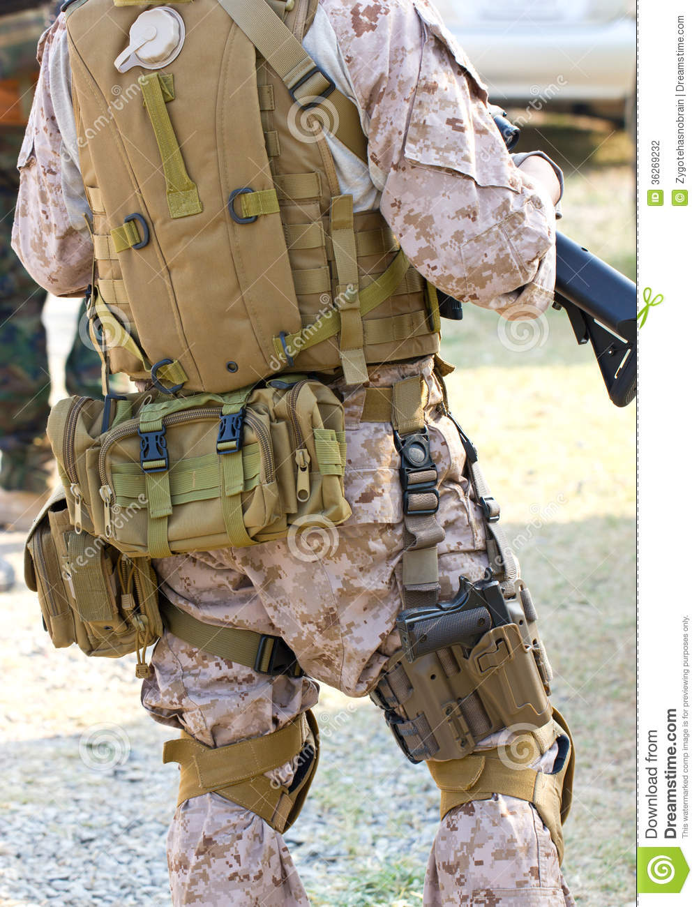 Back Side Of A Soldier Stock Photography Image 36269232