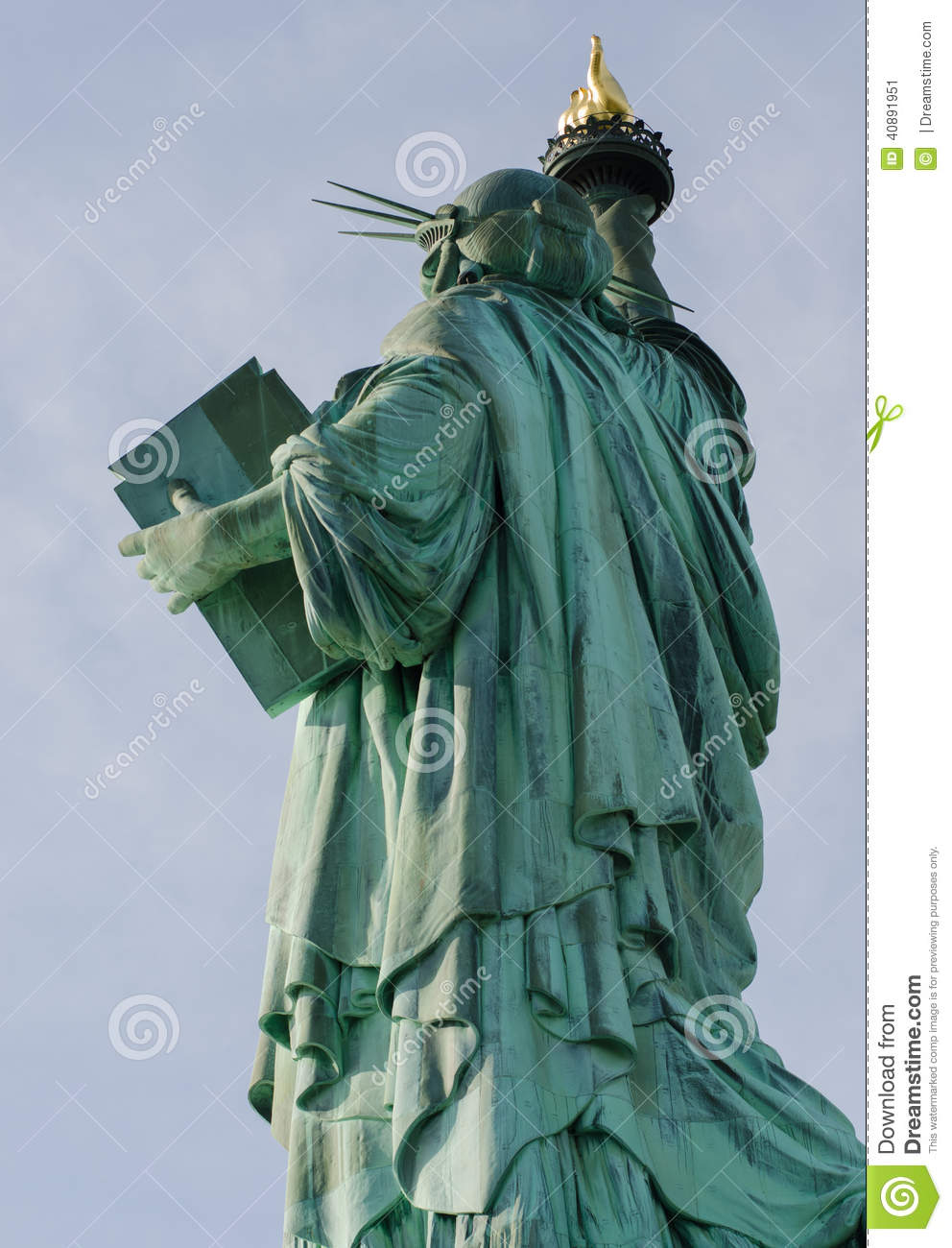 Statue of Liberty full length from the back and side with a view of ...